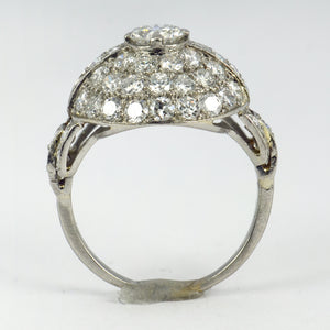 French Art Deco White Diamond Platinum Target Dome Ring