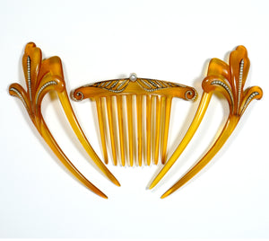 Pair of Antique Tortoiseshell Pearl hair combs