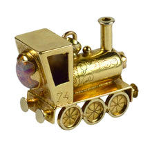 Load image into Gallery viewer, Yellow Gold Gemset Steam Train Engine Charm Pendant