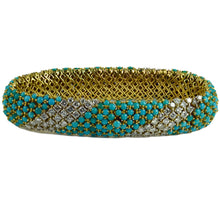 Load image into Gallery viewer, Italian Blue Turquoise White Diamond Yellow Gold Pelouse Bracelet
