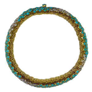 Italian Blue Turquoise White Diamond Yellow Gold Pelouse Bracelet