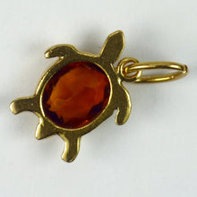 Load image into Gallery viewer, 18K Yellow Gold Orange Citrine Turtle Charm Pendant
