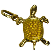 Load image into Gallery viewer, 18K Yellow Gold Enamel Turtle Tortoise Charm Pendant