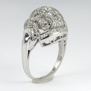 White Diamond Platinum Dome Cocktail Ring