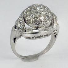 Load image into Gallery viewer, White Diamond Platinum Dome Cocktail Ring