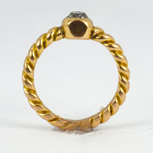 18K Yellow Gold White Diamond Twisted Solitaire Pinky Ring