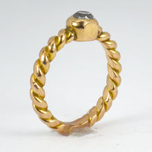 Load image into Gallery viewer, 18K Yellow Gold White Diamond Twisted Solitaire Pinky Ring