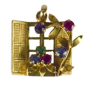 French Yellow Gold Gem Set Open Window Flower Box Charm Pendant