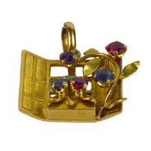 Load image into Gallery viewer, French Yellow Gold Gem Set Open Window Flower Box Charm Pendant