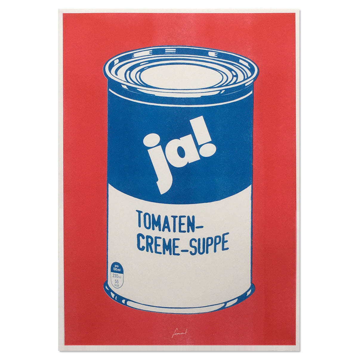 Risographie Tomaten-Creme-Suppe (Rot Blau)