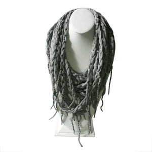 The Andean braid - 100% Cotton Necklace ~ Light Gray