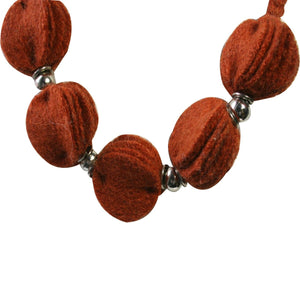 Pachacamac hanging discs - Necklace 100% Alpaca ~ Terracotta