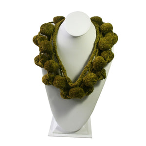 Chimu Ceremonial Balls - Necklace 100% Cotton ~ Moss Green