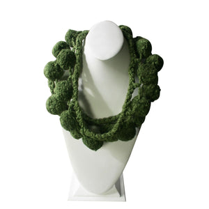 Chimu ceremonial balls - Necklace 100% Cotton ~ Leaf green