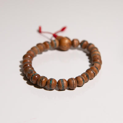 Sandalwood with coral and turquoise inlay wrist mala