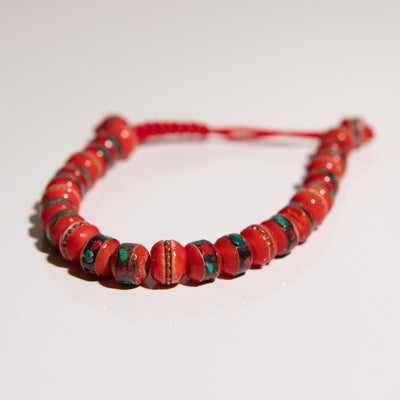 Red yak bone wrist mala