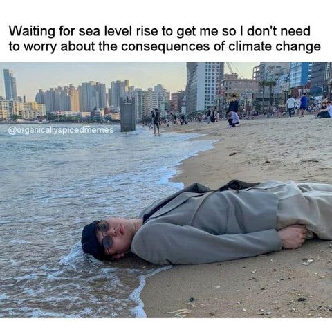 Waiting for sea level rise to get me so I don't need to worry about the consequences of climate change.