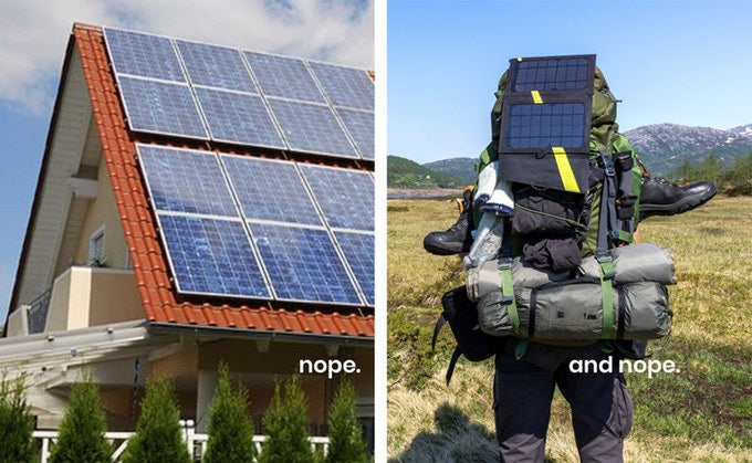 Grouphug Solar: a side by side photo of solar panels on a roof and camping backpack.