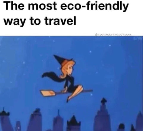 Samantha from Bewitched (cartoon) flying on a broom set against the night sky. Text: the most eco-friendly way to travel.