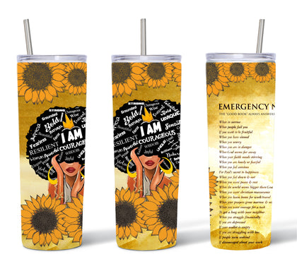 Sunflower Sistah Good Book Tumbler Design