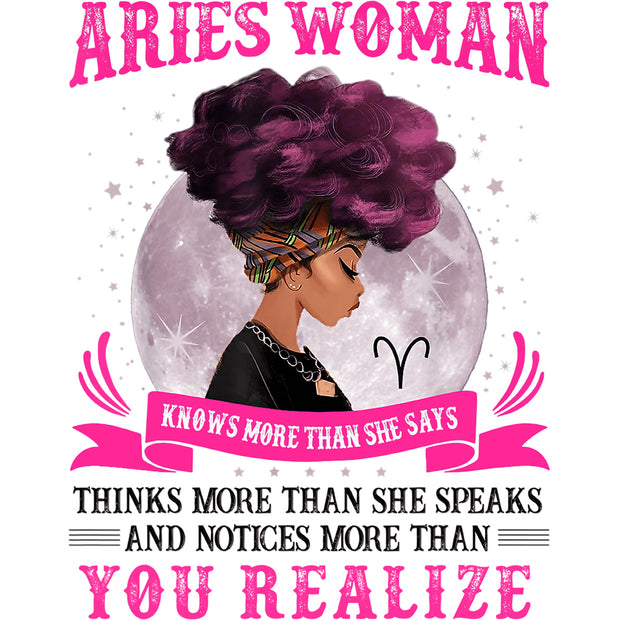 Aries Woman Sublimation Transfer