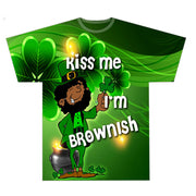 Kiss Me I'm Brownish Leprechaun AOP and Chest Design
