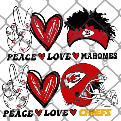 Peace Love Chiefs PNG SVG