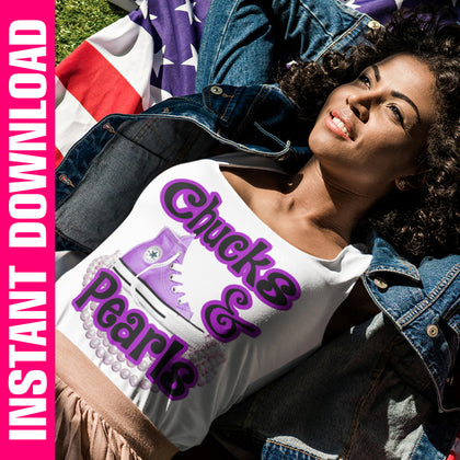 Chucks & Pearls Purple PNG Only
