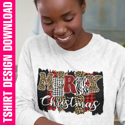 Merry Christmas Plaid Brushstroke PNG SVG