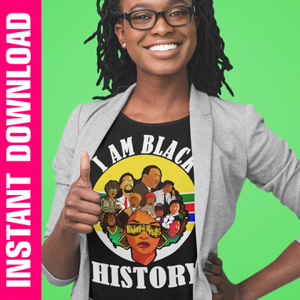 I Am Black History Powerful Roots PNG