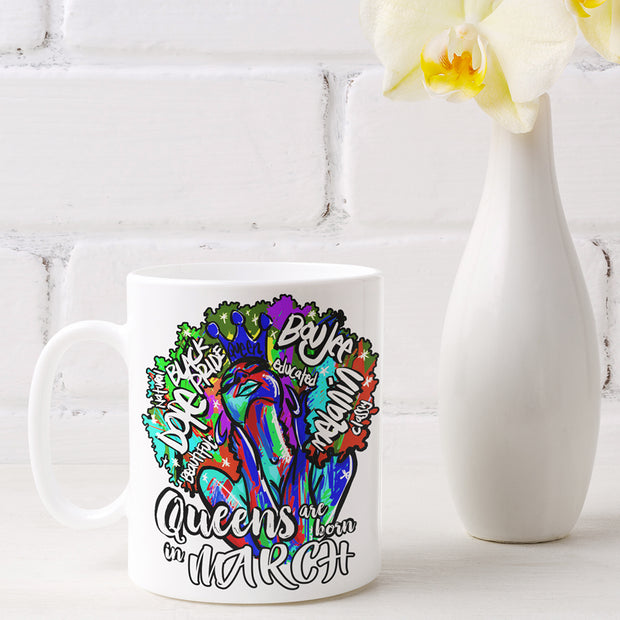 Queens are Born In March Mug Sublimation Transfer
