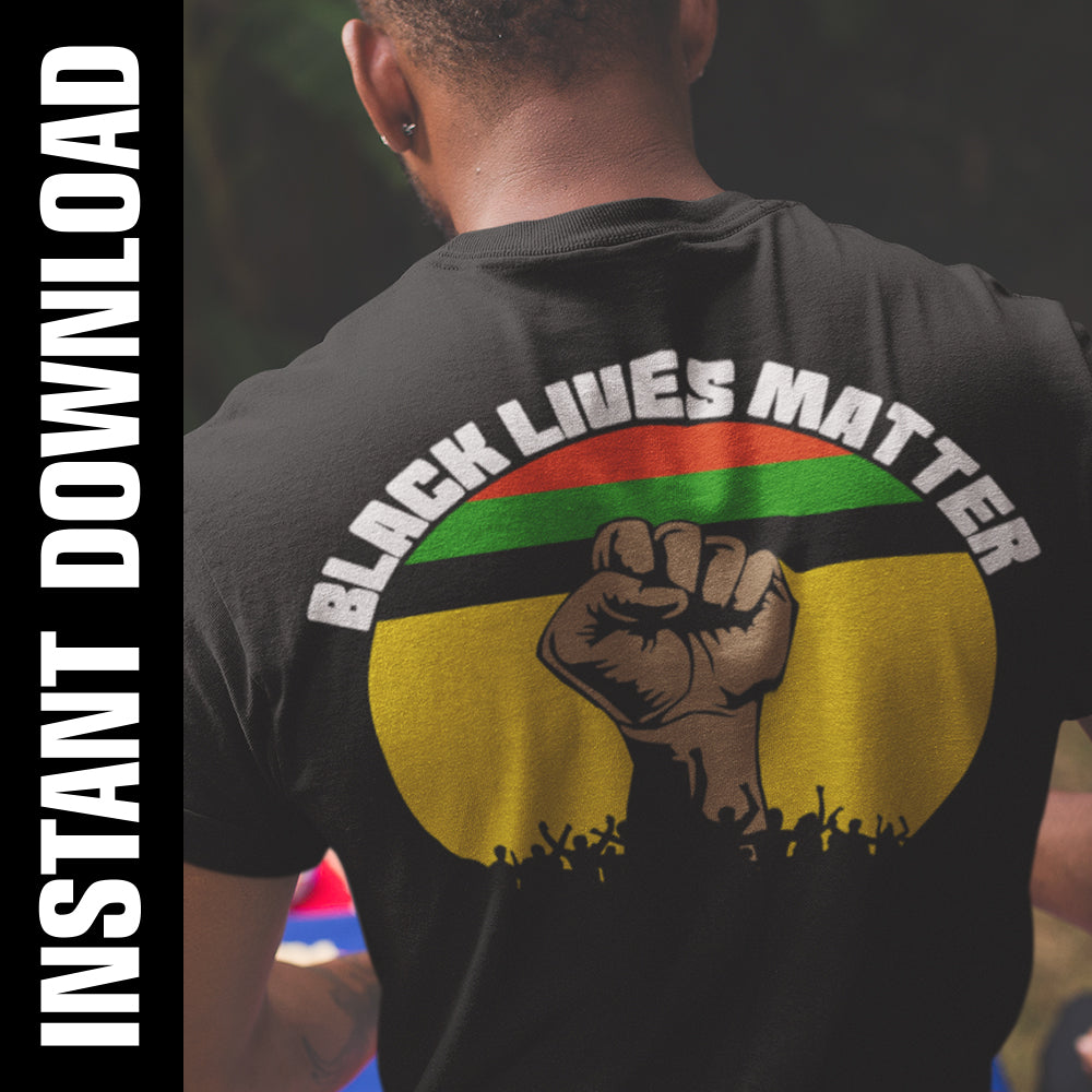 BLM Fist Crowd PNG SVG