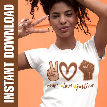 Peace Love Justice PNG SVG