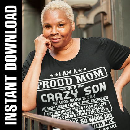 Proud Mom Crazy Son PNG SVG