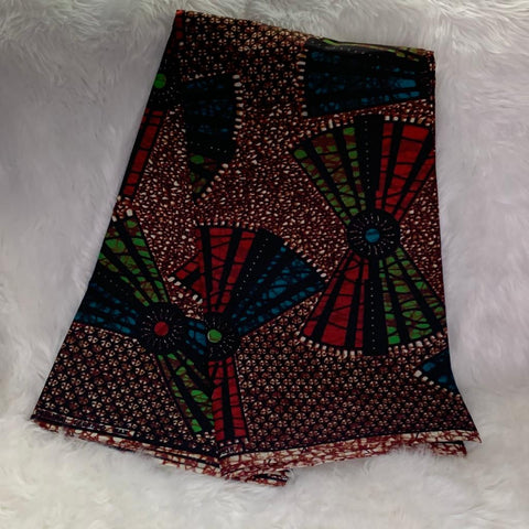 African Wax Print Fabric/ Brown- Red- Green/By The Yard