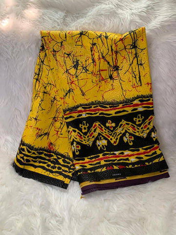 African Wax Print Fabric/ Yellow- Black-Red/By The Yard