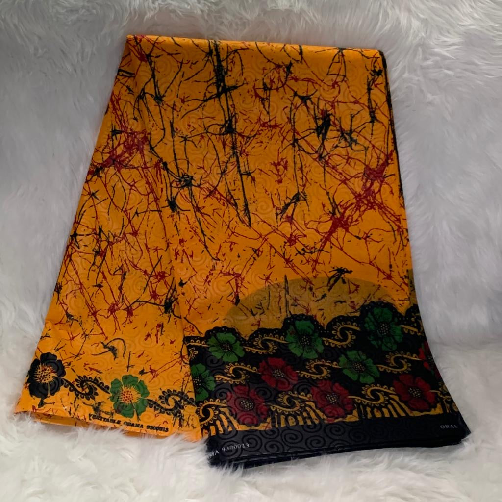 African Wax Print Fabric / Yellow-Red- Green /By The Yard