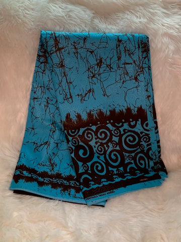 African Wax Print Fabric/ Turquoise Blue- Black/By The Yard
