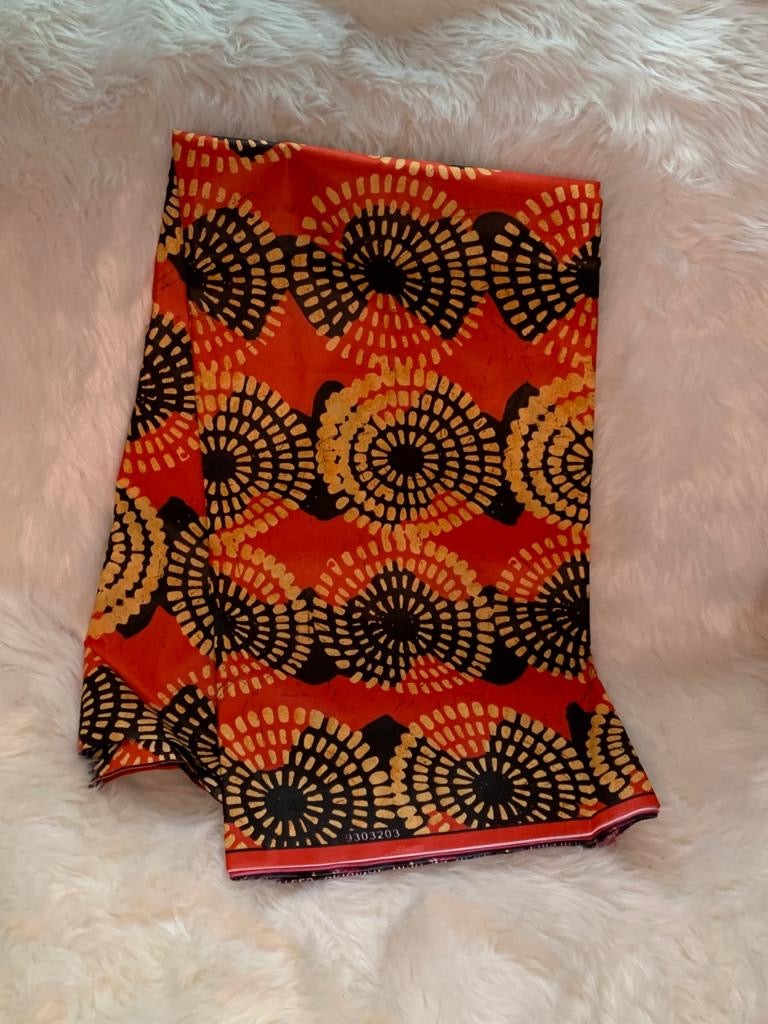 Circles African Wax Print Fabric/ Orange- Black/By The Yard
