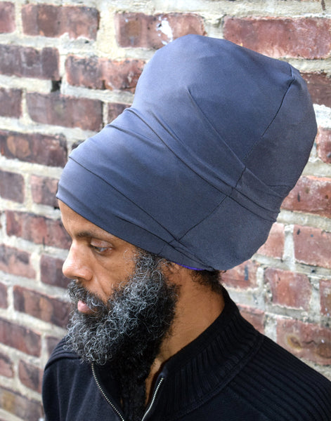 Gray stretch hat - side view.