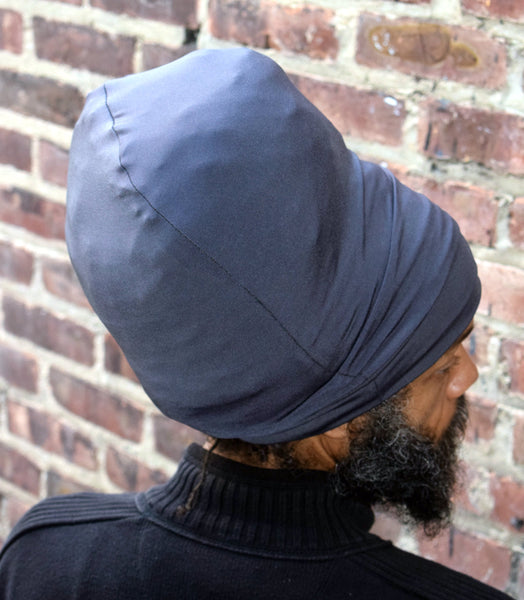 Gray stretch hat - back view.