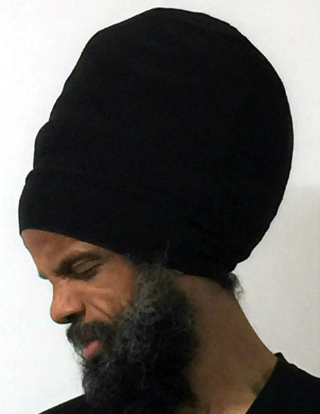 Black hat for dread locs- side view.