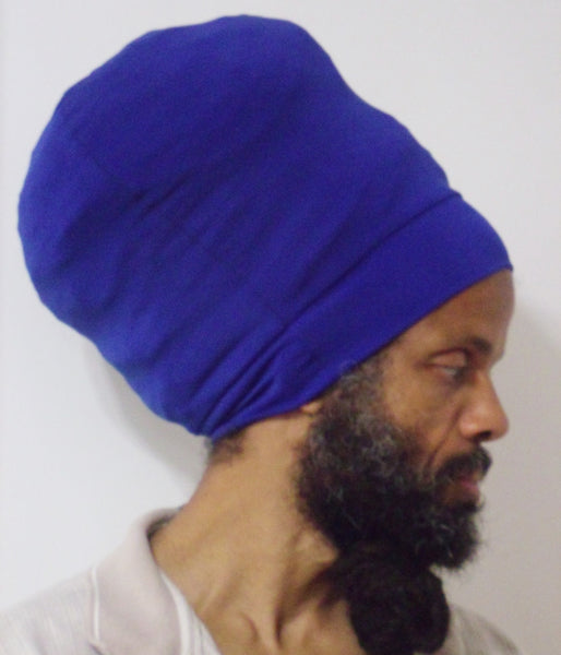 Royal Blue stretch hat - side view.