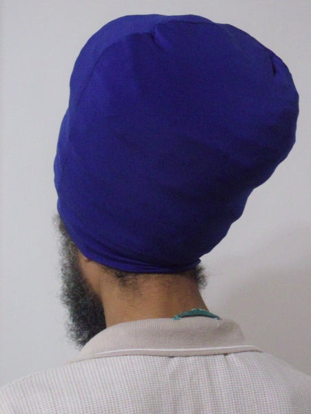 Royal Blue stretch hat - back view.