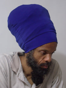 Royal Blue stretch hat - front view.