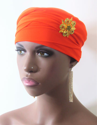 Women Orange EZ PZ Turban Wrap