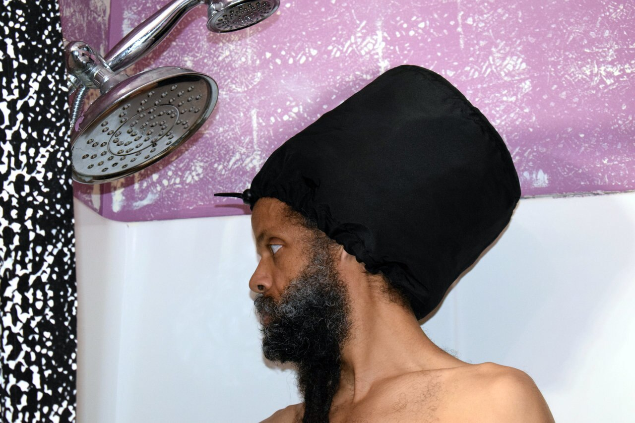 Black Adjustable Shower Cap