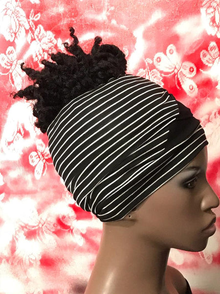 Black Stripe Mix Ponytail Loc Socks