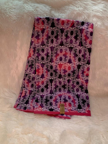 African Wax Print Fabric /Pink- Purple /By The Yard