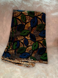 African Wax Print Fabric /Green- Cream- Blue /By The Yard
